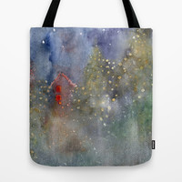 christmas lights Tote Bag by rysunki-malunki