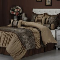 7-piece Ruched Jacquard Leopard Comforter Set Queen