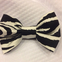 Zebra Bow tie or Bow Black and White Bow tie, Zebra hair Bow - clip on - Infant, Toddler, Child, Adult - pretied bow tie