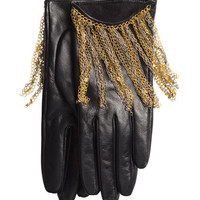 Leather Chain Fringe Gloves