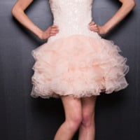 2013 Prom Dresses - Nude Chiffon & Sequin Short Prom Dress