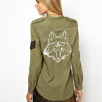 Zadig and Voltaire Soft Military Shirt with Wolf Embroidered Back