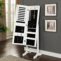 Modern Jewelry Armoire Cheval Mirror - High Gloss White | www.hayneedle.com