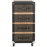 Safavieh Brent Brown 4-Drawer Rolling Chest