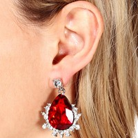 Ruby Red Tear Drop Earrings