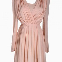 Nude Pleated V-Neck Long Sleeve Midi Dress
