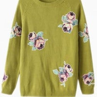 Green Knitted Sweater with Rose Embroidered Detail