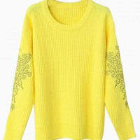 Yellow Sweater with Embroidered Sleeve Detail