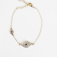 WOMEN GOLD EVIL EYE RHINESTONE DIAMOND SAPPHIRE CHAIN BRACELET JEWELRY at Miss Dandy | Miss Dandy