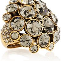 Oscar de la Renta Gold-plated crystal ring – 45% at THE OUTNET.COM