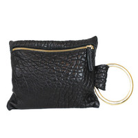 WOMEN GOLD RING WRIST LEATHER ZIPPER CLUTCH POUCH HANDBAG BAG PURSEat Miss Dandy | Miss Dandy