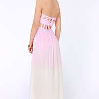 Element Eden Mandala Strapless Pink Dip-Dye Dress