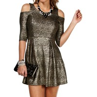 Black/Gold Cold Shoulder Skater Dress