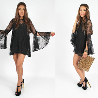 Vintage 1970s Inspired Women's BLACK LACE Short Floral Festival Bohemian BELL Sleeve Dress Tunic