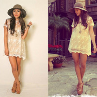 Vintage 70s Inspired Sheer Floral Lace Bohemian Hippie Lace Wedding Mini Boho Dress