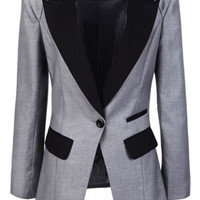 ROMWE | ROMWE Color Block Slim Grey Blazer, The Latest Street Fashion
