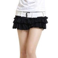 Allegra K Woman Button Waist Tiered Chiffon Patchwork Front Skort Black XS