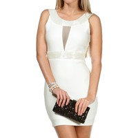 Ivory Beaded Boat Neck Sheath Dress