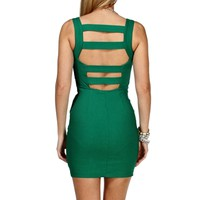 Emerald Square Neck Bandage Dress