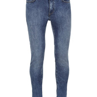 MID BLUE MARBLED SPRAY ON SKINNY JEANS - TOPMAN USA