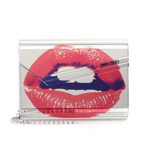 CANDY LIP-PRINT MIRRORED CLUTCH