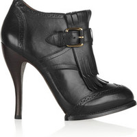 McQ Alexander McQueen Fringed leather ankle boots – 49% at THE OUTNET.COM