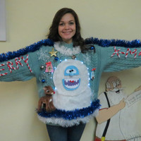 Custom 3-D Furry Fuzzy Bumble The Abominable Snowman & Rudolph Light UP Tacky Ugly Christmas Sweater Free Shipping