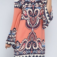 Ethnic Pattern Tunic Dress Coral