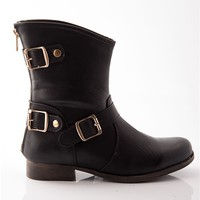 Triple Trouble Three Buckle Ankle Boots - Black