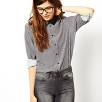 ASOS Shirt with PU Collar in Tiny Check