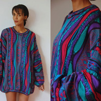 Vtg Oversize Knit Purple Teal Pink Grandpa Sweater