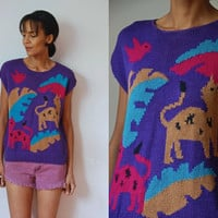 Vtg Jungle Animal Retro Print Purple Sleeveless Knit Sweater