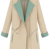 ROMWE | Romwe Color Block Shoulder Epaulet Cream Coat, The Latest Street Fashion