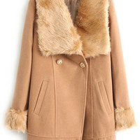 ROMWE | Romwe Double-breasted Faux Fur Lapel Khaki Coat, The Latest Street Fashion