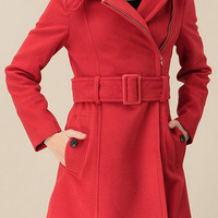 ROMWE | ROMWE Belted Pocketed Zippered Long Sleeves Red Coat, The Latest Street Fashion