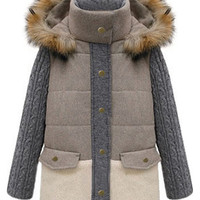 ROMWE | Romwe Knit Long Sleeves Furry Hooded Grey Coat, The Latest Street Fashion