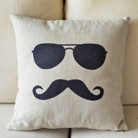 MagicPieces Cotton and Flax Mr. Moustache Print Decorative Pillow 1205