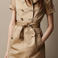 Cotton Twill Trench Dress