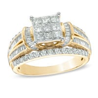 1-1/4 CT. T.W. Princess-Cut Composite Diamond Engagement Ring in 10K Gold