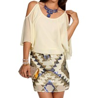 Cream Cold Shoulder Sequin Combo Tunic