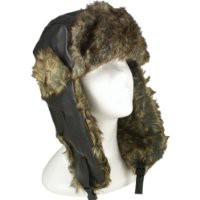 PU Leather Womens and Mens Winter Warm aviator Trooper Trapper Ski Hats in Black, Brown, Grey, Pink, Red Unisex with Faux Fur Inner Lining one size fits most (Black)