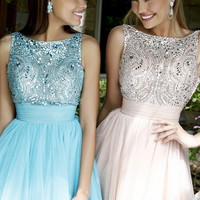 Embellished Open Back Dress by Sherri Hill