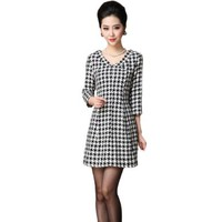 Women's V-neck 3/4 Sleeves Houndstooth Plaid Slim Midi Dress