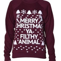 Womens Long Sleeved Merry Christmas Ya Filthy Animal Sweater (Mtc)