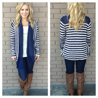 Navy Stripe Thick Knit Dezie Caridgan