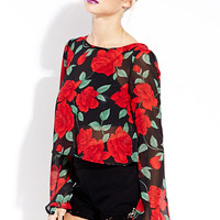 Vibrant Rose Crop Top