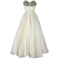Vintage 1950's Emma Domb Ivory Organza Sequins Dress