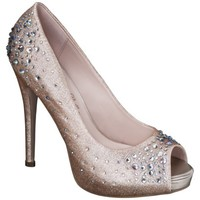 Women's De Blossom Nadine Jeweled Peep Toe Pumps - Nude