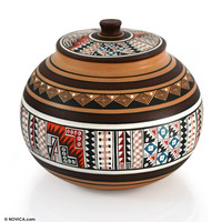 Cuzco Decorative Ceramic Jar - Timeless | NOVICA
