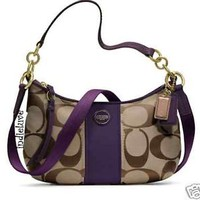 AUTHENTIC COACH SIGNATURE C STRIPE DEMI CROSSBODY F23544 NWT KHAKI PURPLE